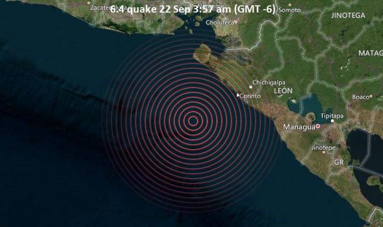 Terremoto de magnitude 6,5 atinge costa da Nicarágua