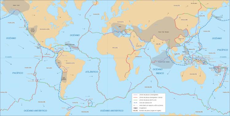 mapa de placas tectônicas